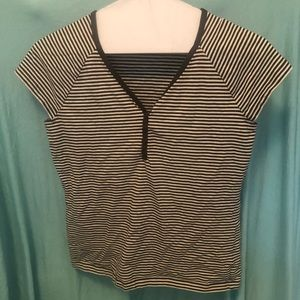 Button down top with brown and white stripes
